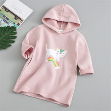 2019 Autumn Spring Girls Hooded Long Sweatshirts Tops Children Clothes Cotton Cartoon Rainbow Cat Print Long Sleeve Hooded Coat girls cartoon print pep hem hooded dress