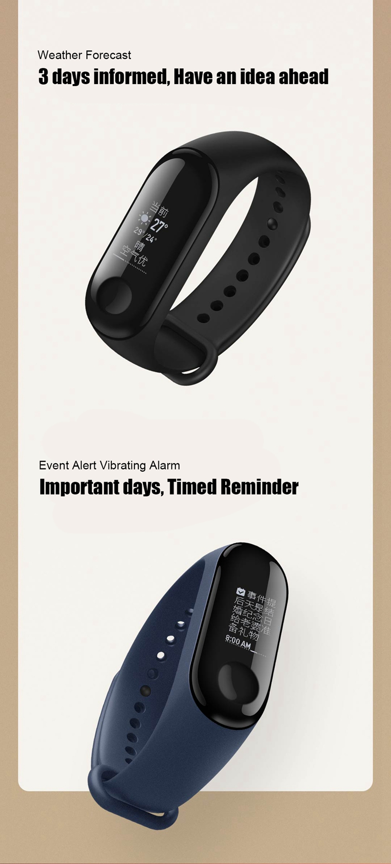 "Original Mi Band 3 Fitness Tracker Smart Bracelet 0.78""Color Screen 5ATM Waterproof Heart Rate Monitor Global Smartband In Stock 29"