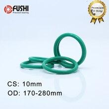 CS10mm FKM Viton Rubber O RING OD 170/195/200/220/250/260/280*10 mm 1PC O-Ring Fluorine Gasket Oil seal Green ORing