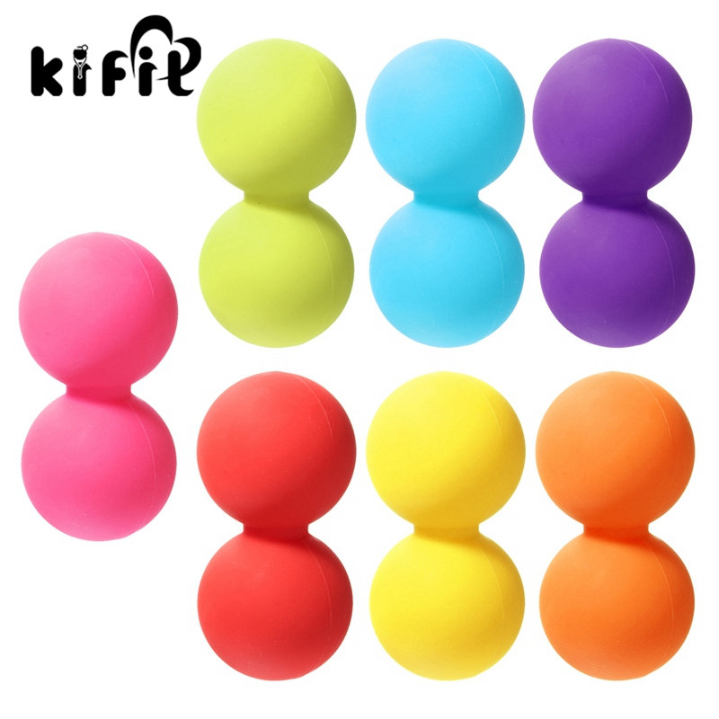 KIFIT Silicone Double Lacrosse Ball Mobility Myofascial Trigger Point Yoga Massage Messager Ball Gym Fitness For Body Building spiky massage ball fitness balls sense to strengthen mini peanut massage ball soft for back foot hand training ball blue red