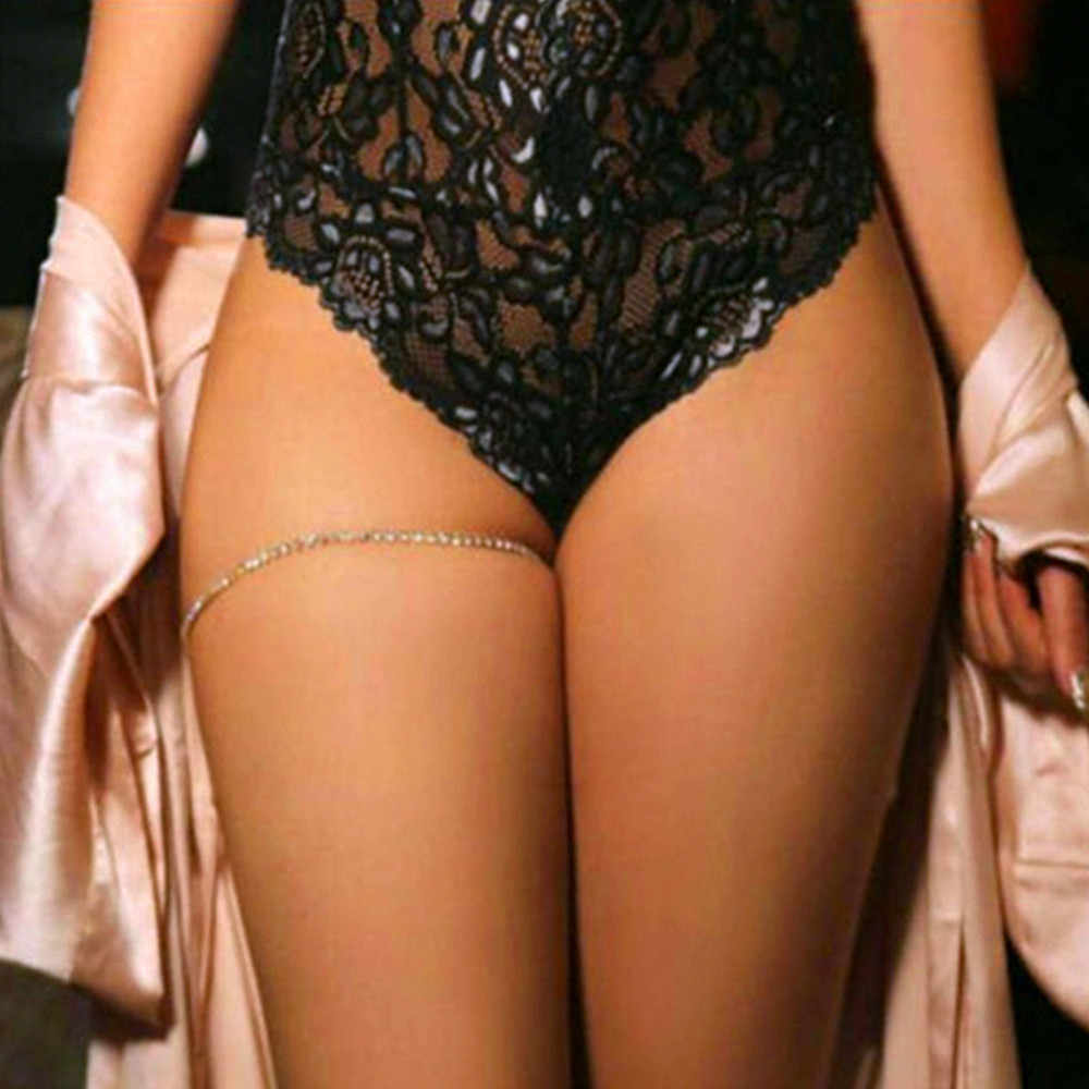 Rhinestones Leg Thigh Chain Shiny Women Sexy Body Chain Leg Thigh Harness Jewelry Beach Gold Color Chains