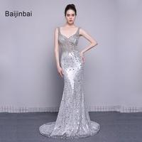 Baijinbai Abendkleider High Quality Luxury Beading Sequins New Long Mermaid Prom Dresses 2016 Vestido De Festa