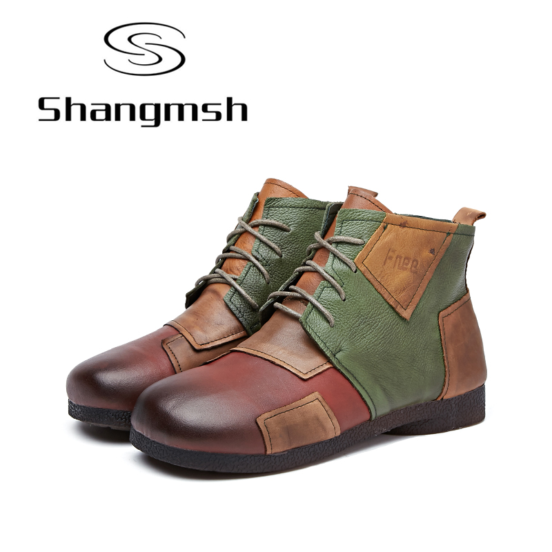 где купить Shangmsh Quality Genuine Leather Shoes 2017 Spring Autumn Fashion Ankle Boots Women Boots Soft Casual Flat Shoes Plus Size по лучшей цене