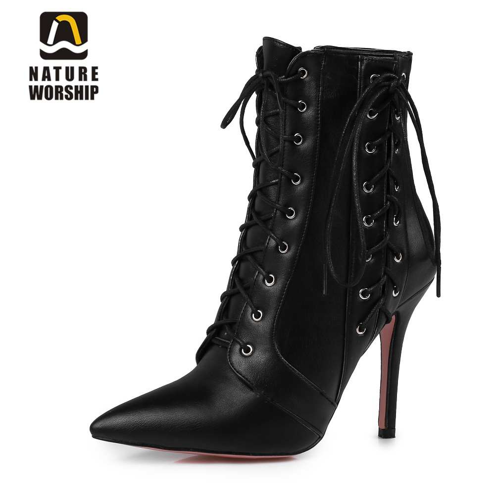 Big size ankle boots Sexy high heels cross-tied martin boots lace up leather boots woman pointed toe ladies women winter boots толстовка wearcraft premium унисекс printio мой сосед тоторо my neighbor totoro
