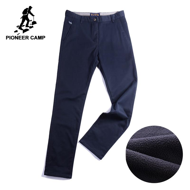 Пионерский лагерь бизнес штаны плотным мужские зимние штаны брендовая одежда качественные теплые мужские повседневные брюки темно-синие ...