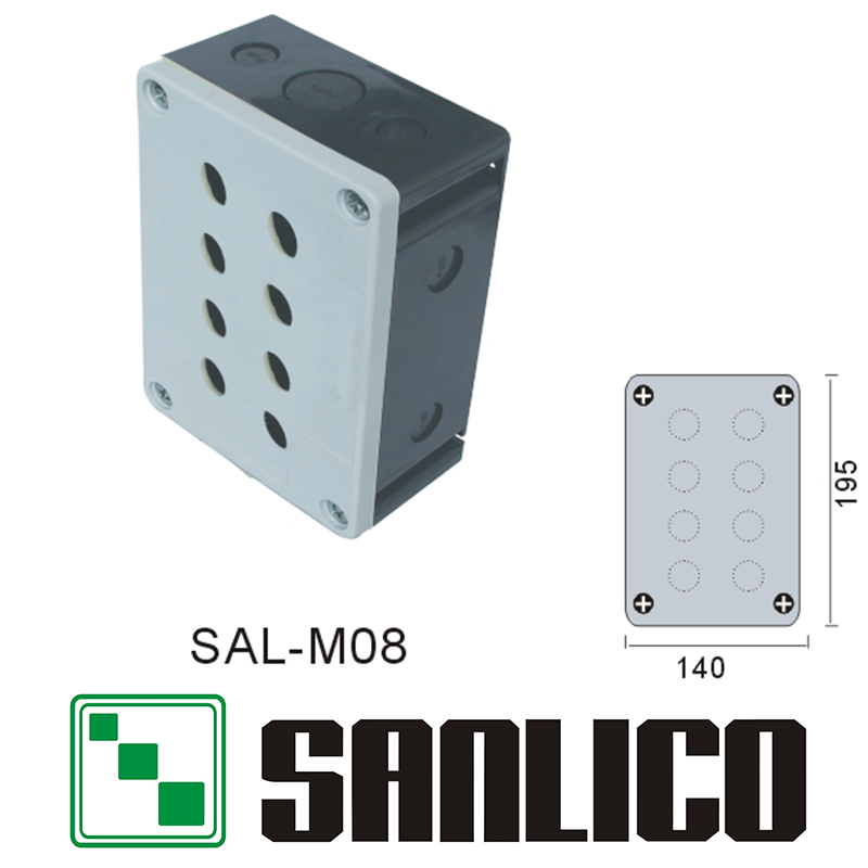 waterproof swicth control box push button switch station IP65 SAL(XAL)-M08 8 holes button box