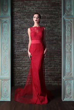 2014 New Modest Red Evening Dresses Sheath Floor-Length Court Train Boat Neck Open Back Deep-V Sexy Gown Free Shipping