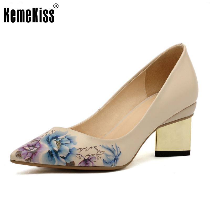 women real genuine leather print pointed toe square high heel shoes brand sexy fashion pumps lady heeled shoes size 34-39 R6975