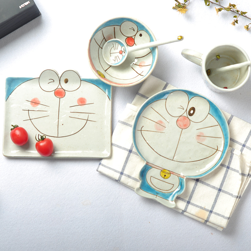 Ceramic cartoon ceramic tableware dishware set hand-painted childrens cute dessert plate food feeding