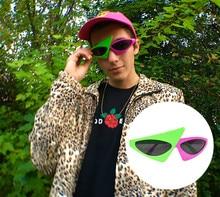 Новинка зеленые розовые контрастные цветные очки в стиле Роя пёрди хип-хоп Асимметричные треугольные очки вечерние украшения