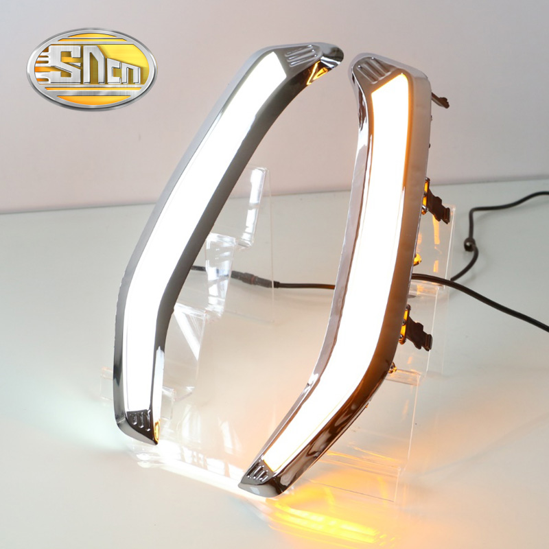 SNCN With Yellow Signal Function Chromed ABS Cover 12V Car DRL LED Daytime Running Light For Subaru Forester 2013 2014 2015 2016 super dimmable waterproof abs matte grid cover abs 12v car drl led daytime running light for bmw e70 x5 2011 2012 2013