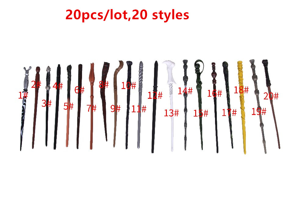 20 pcs/lot Cosplay Hermione Granger Role Play Resin Magical Stick Best Gift Harry Potter Magic Wands Kids Doll Toys for Children
