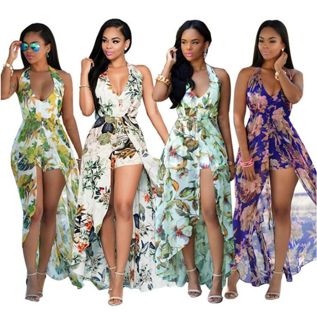2017 New Ladies Deep V Neck Nice African Floral Print Halter Neck High Low  Chiffon Dress Open Back Maxi Dress Vestidos a42214316242