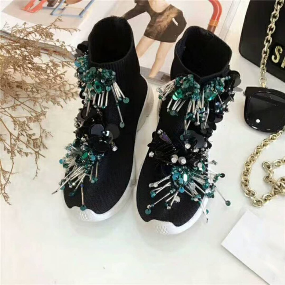 Tassel Beaded Sequins Black Socks Shoes Women s Knit Ankle Boots High top  Sneakers Custom made Casual Shoes Sneakers WK92-in Walking Shoes from  Sports ... 7f670e4672eb