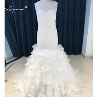 Leeymon Trumpet Ruffle Skirt Wedding Gown 2017 Beaded Lace Wedding Dress Sheer Back Vestido de Noiva LY7232