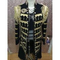 Длинные черные и золотые Блейзер воротник стойка мужской костюм bleiser masculino мужская формальная Производительность костюмы черный Блейзер Му