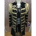 Длинные черный и золотой пиджак мандарин воротник мужской костюм bleiser masculino мужские формальные костюмы производительности черный пиджак мужчины