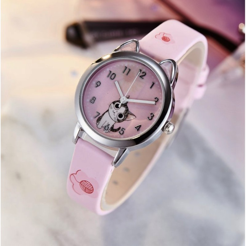 NEW Arrive Cute Cheese Cat Pattern Kids Watch Quartz Analog Child Watches For Boys Girls Student Clock Gift Relogio Feminino(China)