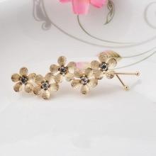 New Flower Rhinestone Women Hair Accessories Plum Floral Hair Clip Girls Hair  Pins Sweet Wedding Headwear Silver Gold Barrette
