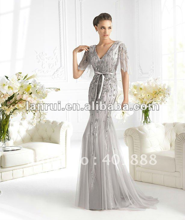 2013 new fashion hot sale silver grey long most beautiful for Silver wedding dresses for sale