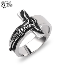 Punk krucyfiks jezus pierścionek krzyż jezus krzyże rysunek stylowa modlitwa mężczyzna biżuteria retro w stylu Gothic Rock party mężczyźni pierścienie rozmiar 8 13