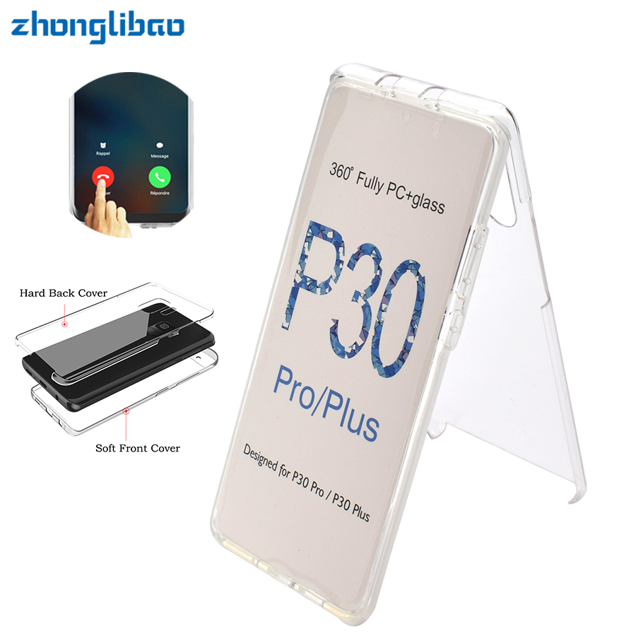 <font><b>360</b></font> Full Body Phone <font><b>Case</b></font> for <font><b>Huawei</b></font> P30 P20 Mate 20 10 Pro Lite P Smart Plus Y6 <font><b>Y7</b></font> Y9 <font><b>2019</b></font> Soft TPU Front Hard PC Back Cover image