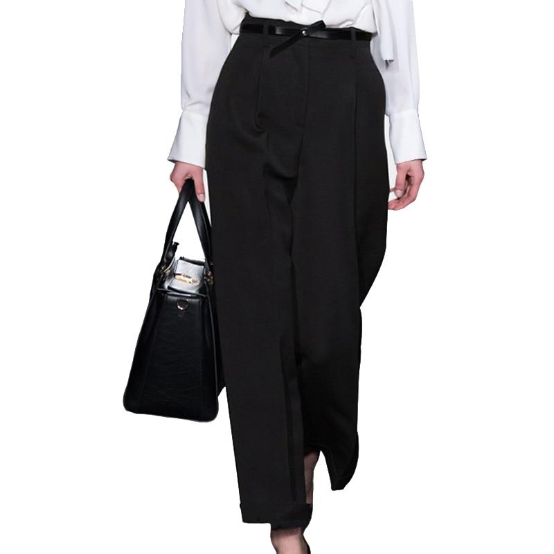 Pantalon Cintura Oficina Moda Black Más Mujer Ancho Pantalón 2018 Suelta Mujeres Alta Pantalones Tamaño Señora Primavera Cinturón wETWcqPd