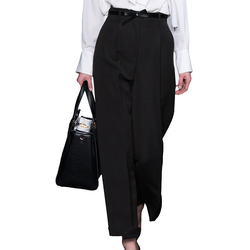 Alta Señora Cinturón Cintura Ancho Más Primavera Black Oficina Pantalones Pantalón Pantalon Moda 2018 Suelta Tamaño Mujer Mujeres AnqwHvxWUf