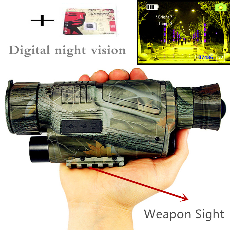 Монокуляр Ночное видение Инфракрасный цифровой возможности для охоты телескоп Длинные диапазон со встроенным Камера стрелять фото Запись