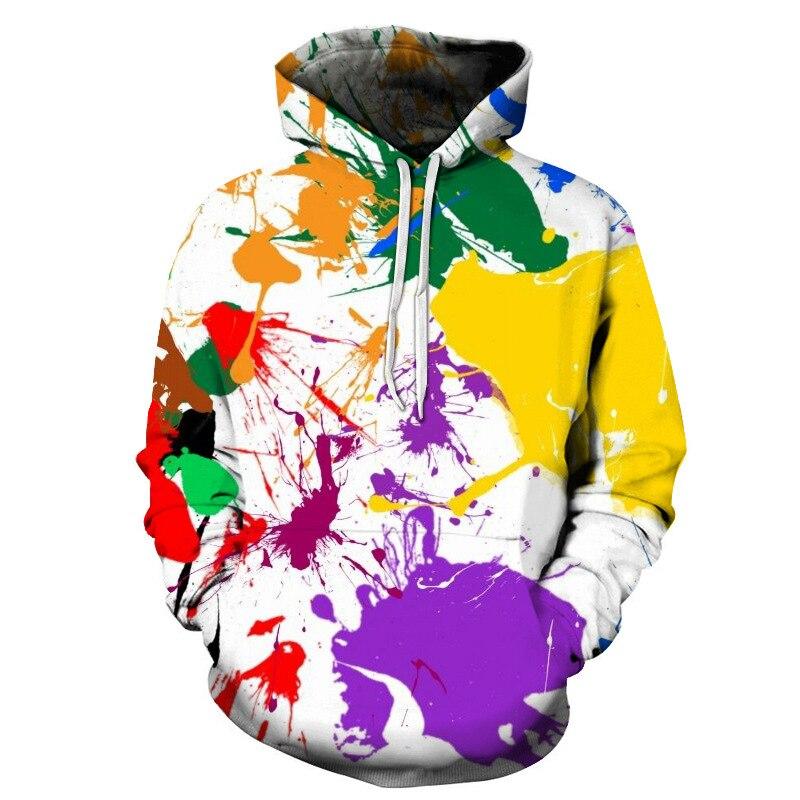 2018 г. новые граффити Радуга лошадь цифровой печати Толстовки с капюшоном для Для мужчин/Для женщин 3D кофты с длинным рукавом с капюшоном Кеп...