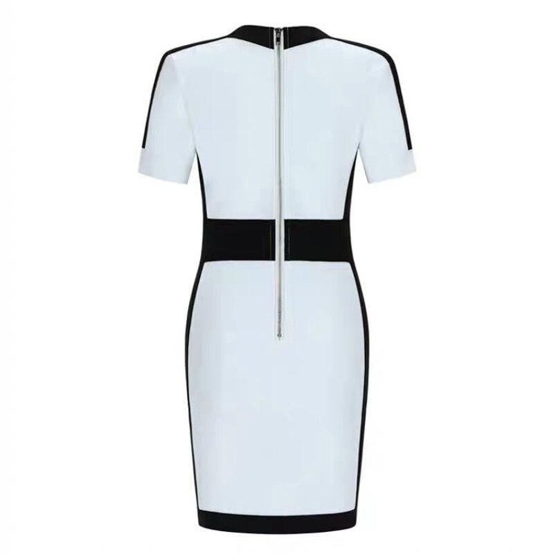HIGH QUALITY Newest 2019 BAROCCO Runway Designer Dress Women's Short Sleeve V-neck Color Block Bodycon Bandage Dress