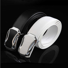 2019 explosion models white belt pure leather authentic men's leather smooth buckle fashion sports car tide belt casual belt