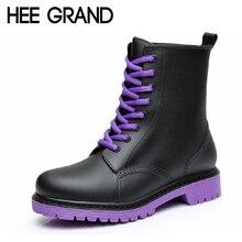 Hee Grand/женские резиновые сапоги 2017 плотная резиновой подошве ботильоны Водонепроницаемый обувь на платформе со шнурками женские Расширенный диапазон размеров 36-41 XWX3792