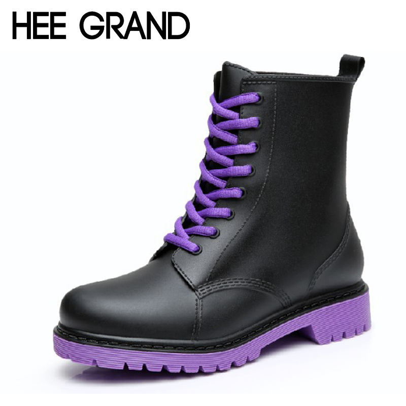 HEE GRAND Women Rainboots 2017 Plain Flat Rubber Ankle Boots Waterproof Lace-up Platform Shoes Woman Size Plus 36-41 XWX3792 ...
