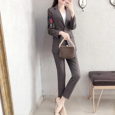 Bordado Xadrez das mulheres terno de negócio da moda terno feminino terno carreira jaqueta seções longas temperamento casual two piece pantsut - 4