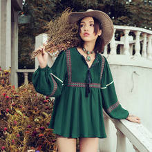 [Aporia.As]Spring Autumn New Women National Trend V-Neck Lantern Sleeve Embroidery Ribbon Casual Loose Chiffon Blouse