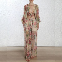 Luxury Brand 2018 Summer High Quality Women 2 Piece Sets Floral Print Long Pants V neck Sexy Shirt Vacation Beach Two Piece Sets