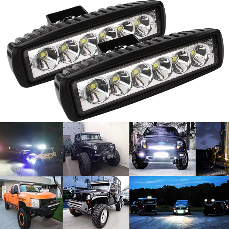 2pcs 6 Inch 18W LED Work Light for Indicators Motorcycle Driving Offroad Boat Car Tractor Truck 4x4 SUV ATV Flood /Spot led bar