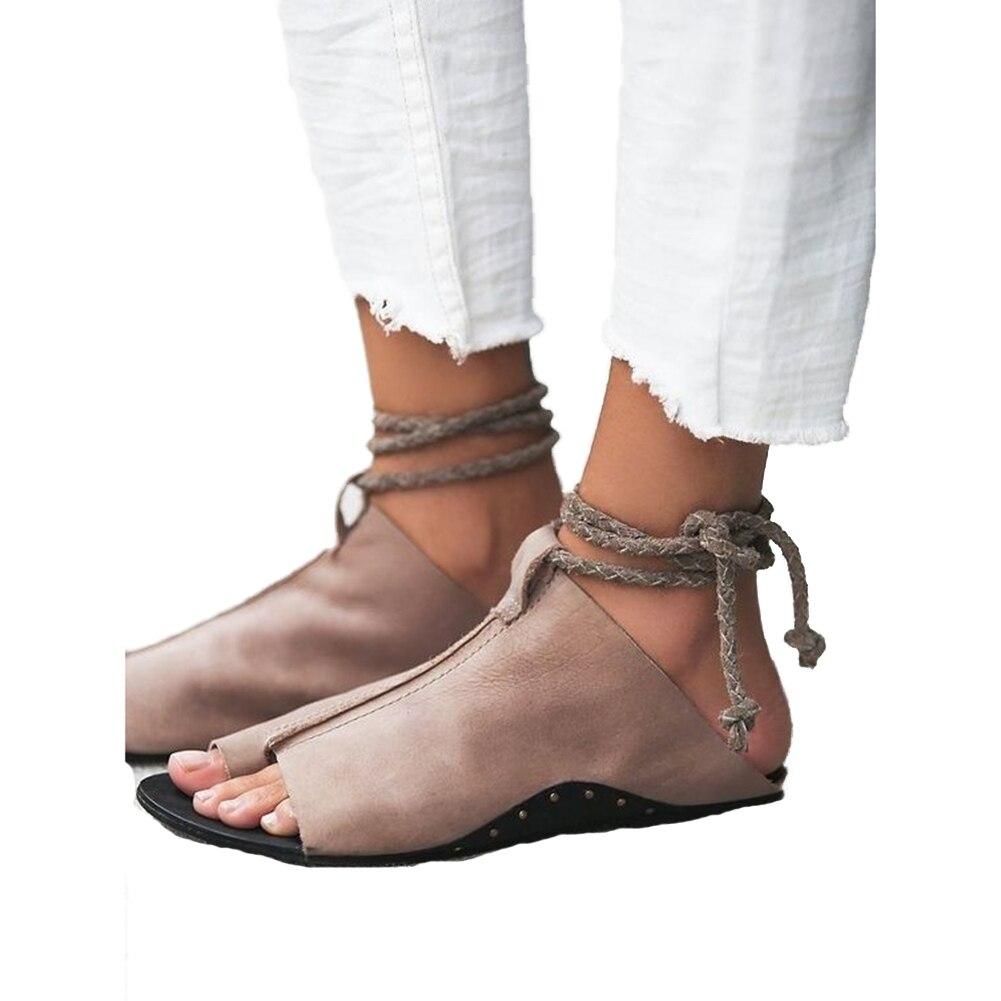 Женские босоножки Мягкие кожаные сандалии гладиаторы Для женщин летние с открытым носком Ремешок на щиколотке без каблука Sandalia Обувь пляжные Направляющие Sapato Feminino