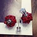 Бесплатная Доставка Кристалл Серьги Мода белое Золото серьги красная роза фиолетовый цветок две стороны серьги новый для женщин