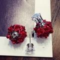 Fashio Oro blanco Plateó los pendientes Pendientes Cristalinos Del Envío Libre rojo de la rosa púrpura flor dos lados pendientes nueva para las mujeres
