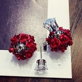 Free Shipping  Crystal  Earrings Fashio white Gold Plated earrings rose red purple flower two sides earrings new for women
