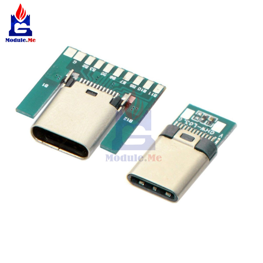 USB 3.1 Type C Connector 24 Pins Male/Female Socket Receptacle Adapter To Solder Wire & Cable 24 Pins Support PCB Board