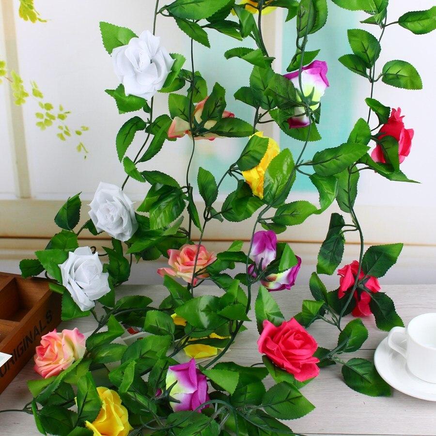 Rosas Flores de la Vid de la Hiedra de seda con Hojas Verdes De Plástico Decorac