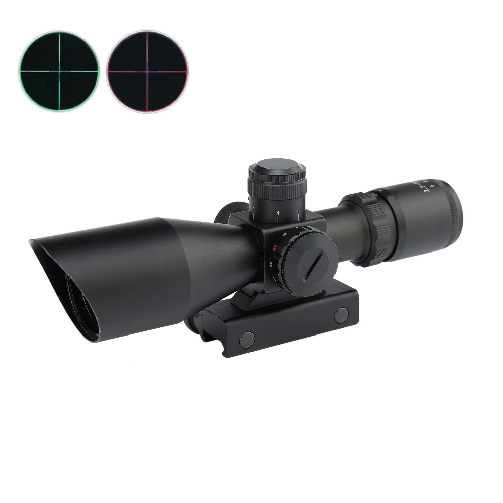 ФОТО 2.5-10x40ER Hunting Riflescope Tactical Optics Sight Red/Green Dot Sight Scope Airsoft Air Guns Chasse Weapon Luneta Para Rifle