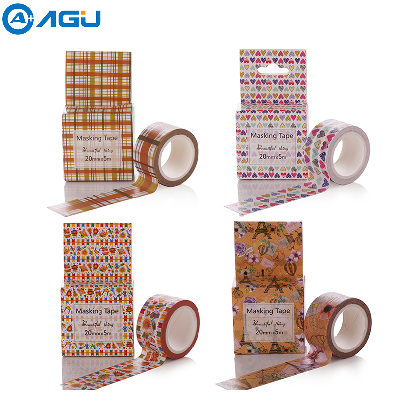 AAGU 2017 New 1PC 20mm*5m Box Package Adhesive Sticker Tape Cute Dog Patterns Washi Tape 21 Styles Paper Masking Tape For DIY aagu new arrival 1pc 15mm 10m musical note fresh floral washi tape strawberry sticky adhesive tape various patterns masking tape
