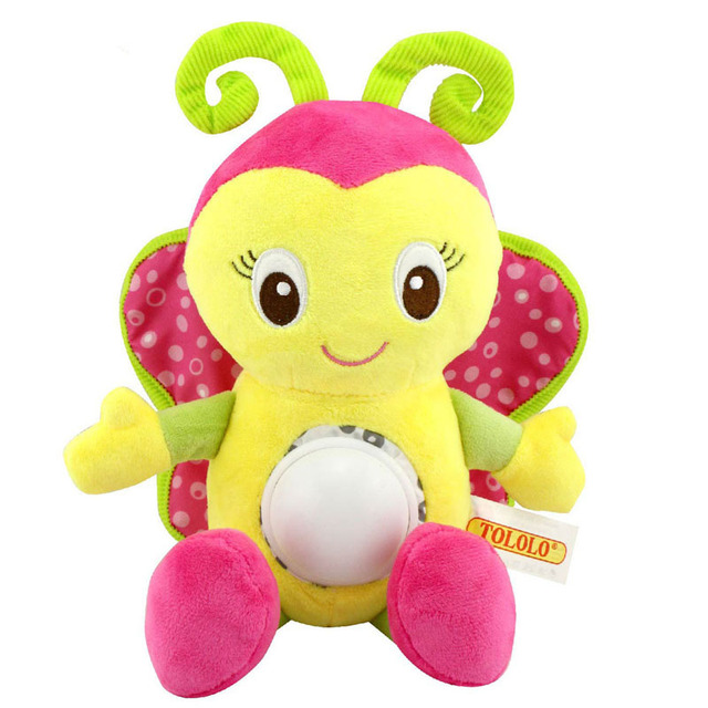 flashing Melody musical soft stuffed animal plush Toy baby rattles cartoon Early Educational lion butterfly doll gift