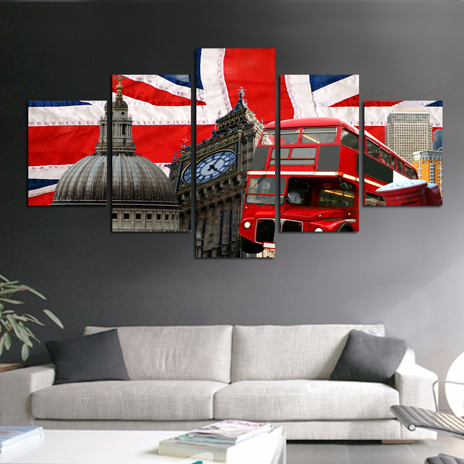 Hot sell United States Wall Art Picture City Square Photography Photo on  Canvas Red Bus England. Popular United States Wall Art Buy Cheap United States Wall Art