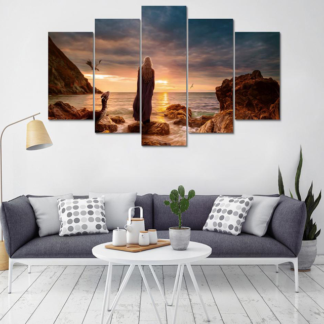 frames for living room walls light green decor painting wall art modular 5 panel game of thrones daenerys targarye poster canvas printed decoration pictures