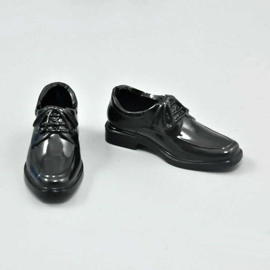 MagiDeal 1 쌍 블랙 1/6 레이스 업 드레스 플라스틱 높은 탑 신발 12 인치 남성 액션 피규어 바디 인형 패션 Desigh 액세서리
